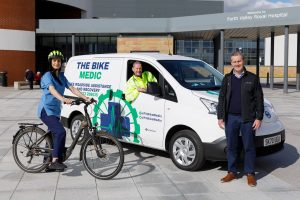 NHS Forth Valley Nurse Varrie-Jane France, Bike Medic Ray Burr and Falkirk West MSP Michael Matheson