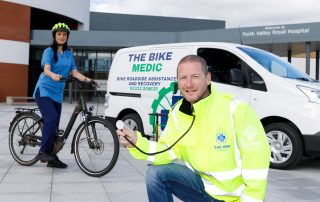 Bike Medic Ray Burr with NHS nurse Varrie-Jane France