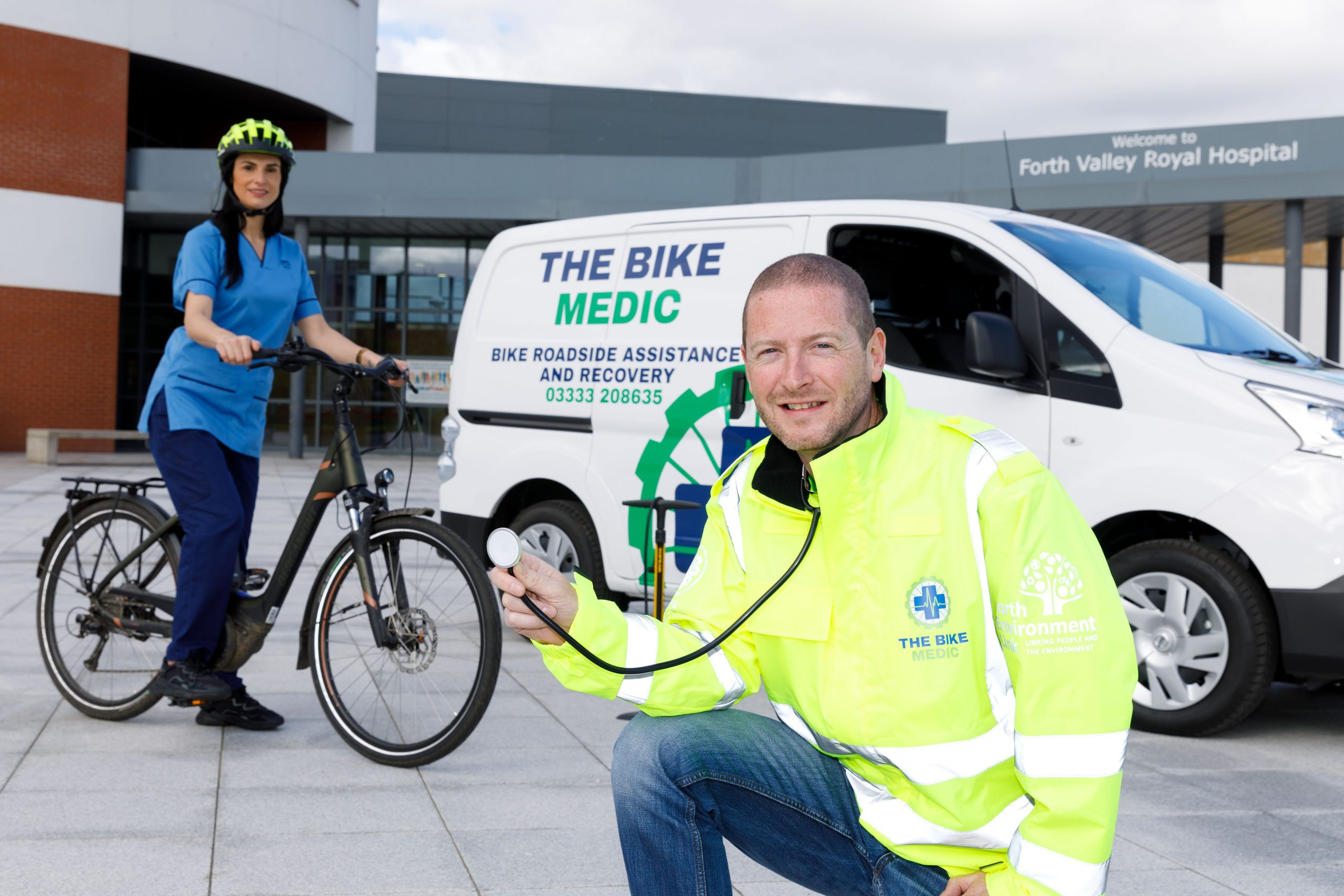 Bike Medic Ray Burr with NHS nurse Varrie-Jane France