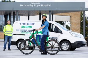 NHS Forth Valley Nurse Varrie-Jane France and Bike Medic Ray Burr.