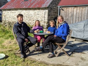 A local family enjoys ice-cream at Achray Farm